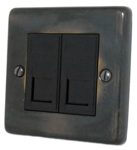 G&H CAN64B Standard Plate Polished Aged Brass 2 Gang Slave BT Telephone Socket